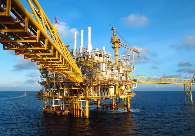 Oil and gas industry .Offshore construction platform for product